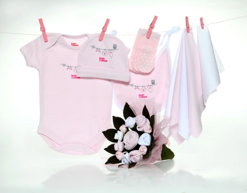 Baby boeket roze klein 1
